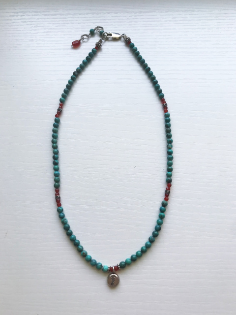"NK 3- SS, Karen Hill Tribe silver, turquoise, carnelain 17"", extends to 19"""