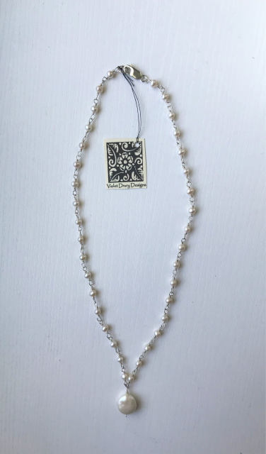 NK 5- SS, cultured fresh water pearl, coin pearl 18""